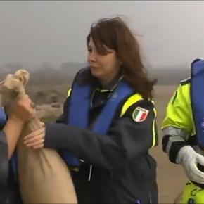 L'assessore De Pietri e il tecnico di Protezione Civile Alimonti alla catena del passa mano sacchi di sabbia